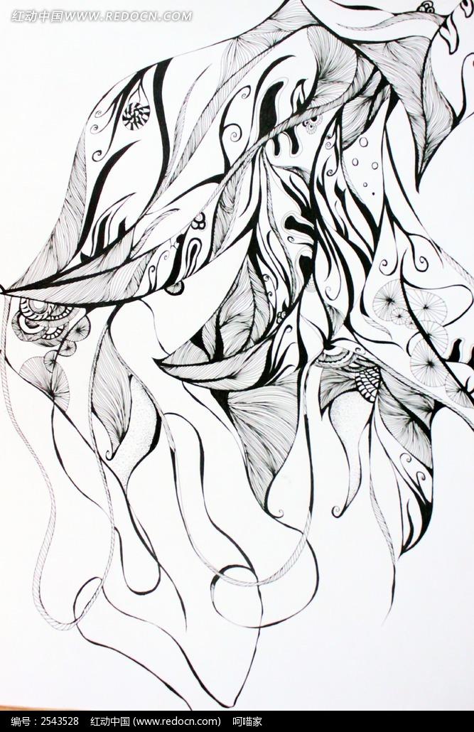 手绘叶子速写插画图片