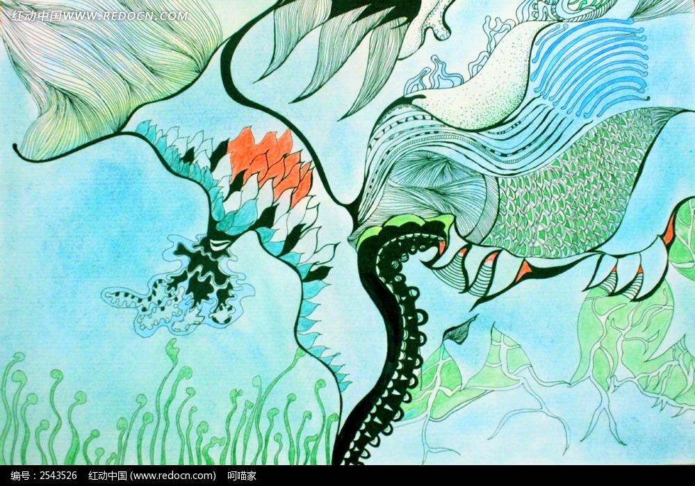 手绘海底海草插画图片