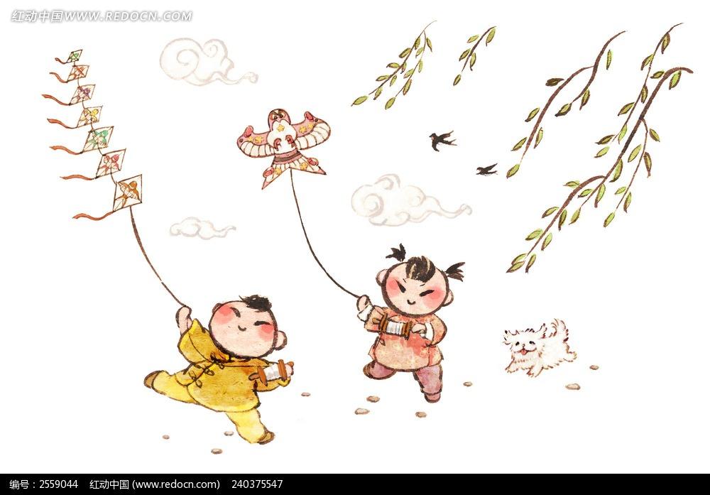 放风筝的小孩插画图片