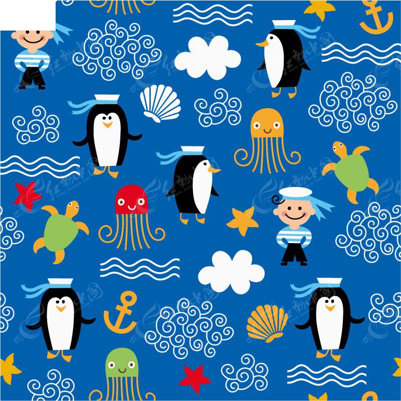 企鹅 扇贝 水母 海洋元素 背景素材 矢量素材 乌龟 云朵 海浪 动物