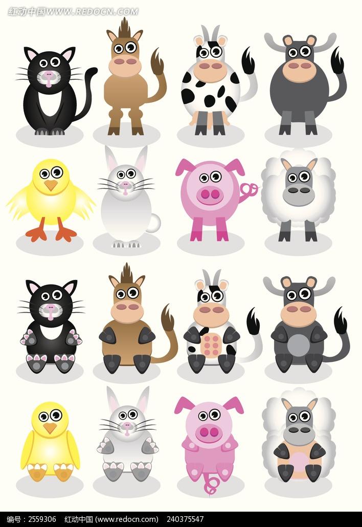 卡通 漫画 大马 马儿 跳跃 小猪 小牛 小羊  动物绘画 动物图片 生物