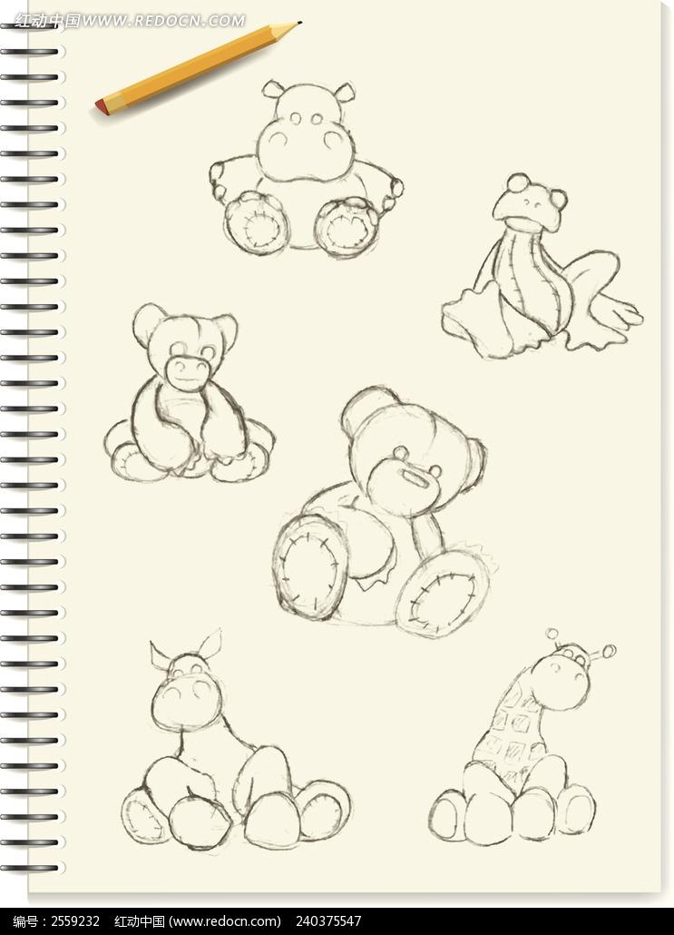卡通 手绘 小熊 铅笔 本子  卡通人物 漫画人物 人物绘画 插画图片