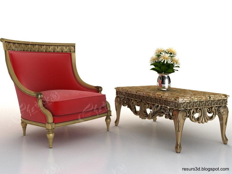一组古典风格的欧式沙发3d模型