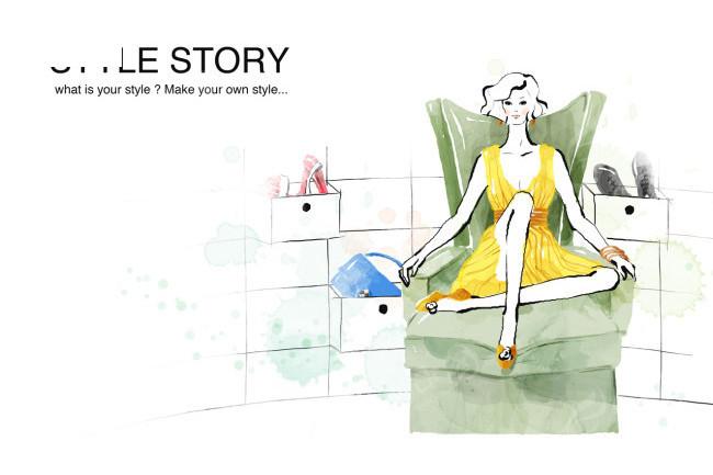 优雅时尚女人坐在沙发上手绘插画psd素材免费下载()