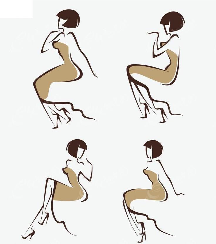 手绘性感美女坐姿矢量图矢量图