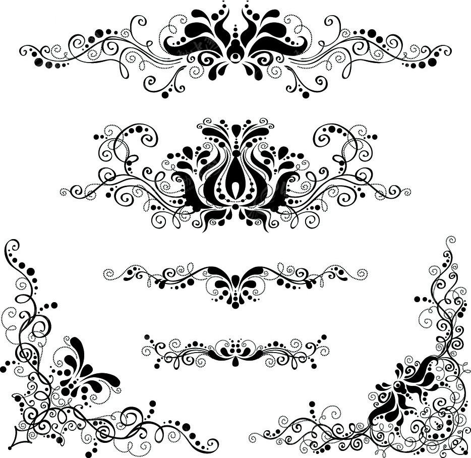 黑白花纹素材PSD分层