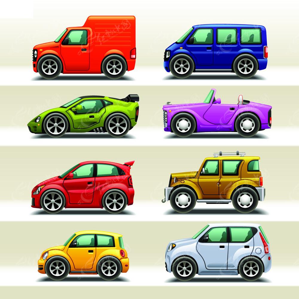 多款精美卡通小汽车矢量素材矢量图EPS免费下载 交通工具图片