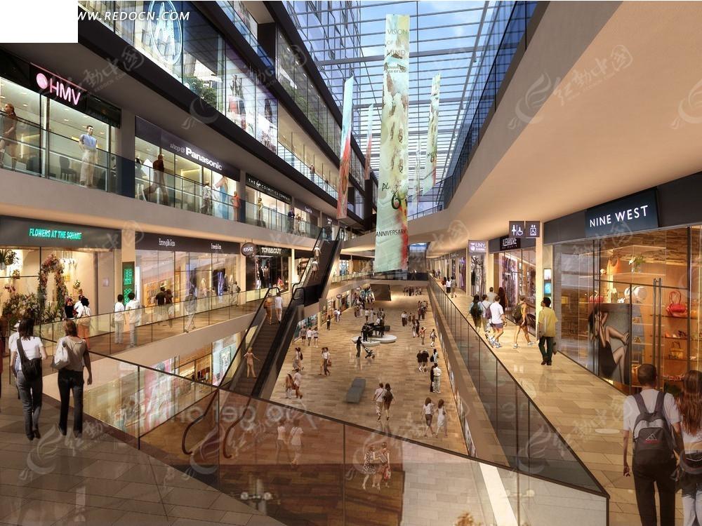 免费素材 psd素材 psd建筑空间 建筑雕塑 商场室内效果图