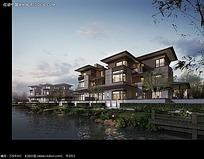 河边的房屋建筑效果图