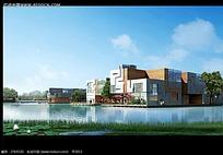 河边的建筑物建筑效果图