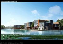 河边的文化中心建筑效果图