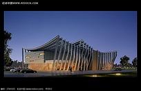 夜晚的博物馆建筑效果图