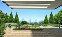 大楼下的花圃建筑效果图
