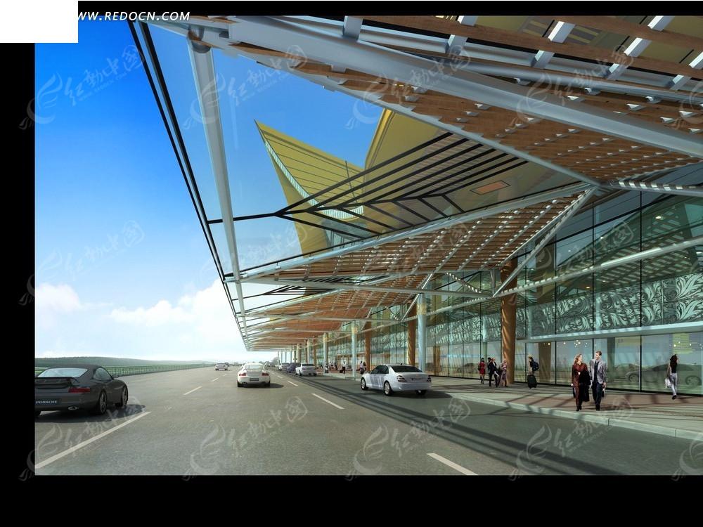 机场外围效果图psd免费下载_建筑雕塑素材
