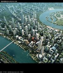 大都市鸟瞰效果图