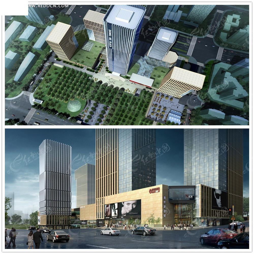房地产建筑效果图俯视图max3dmax免费下载 建筑模型素材