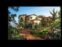 别墅建筑及园林景观效果图max