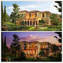 别墅建筑及园林景观设计效果图max