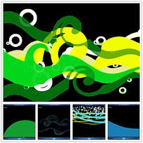 彩色波纹线条背景视频