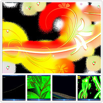 彩色植物花纹光效视频