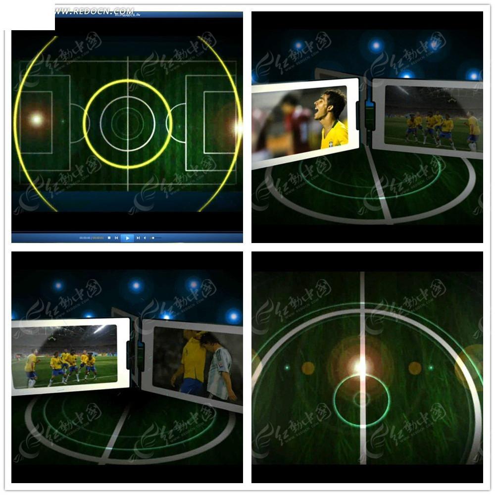 免费素材 视频素材 影视模板 国外模板 光效动感足球相册视频  请您
