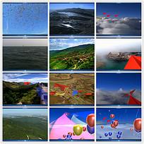 纸飞机气球航拍风景视频
