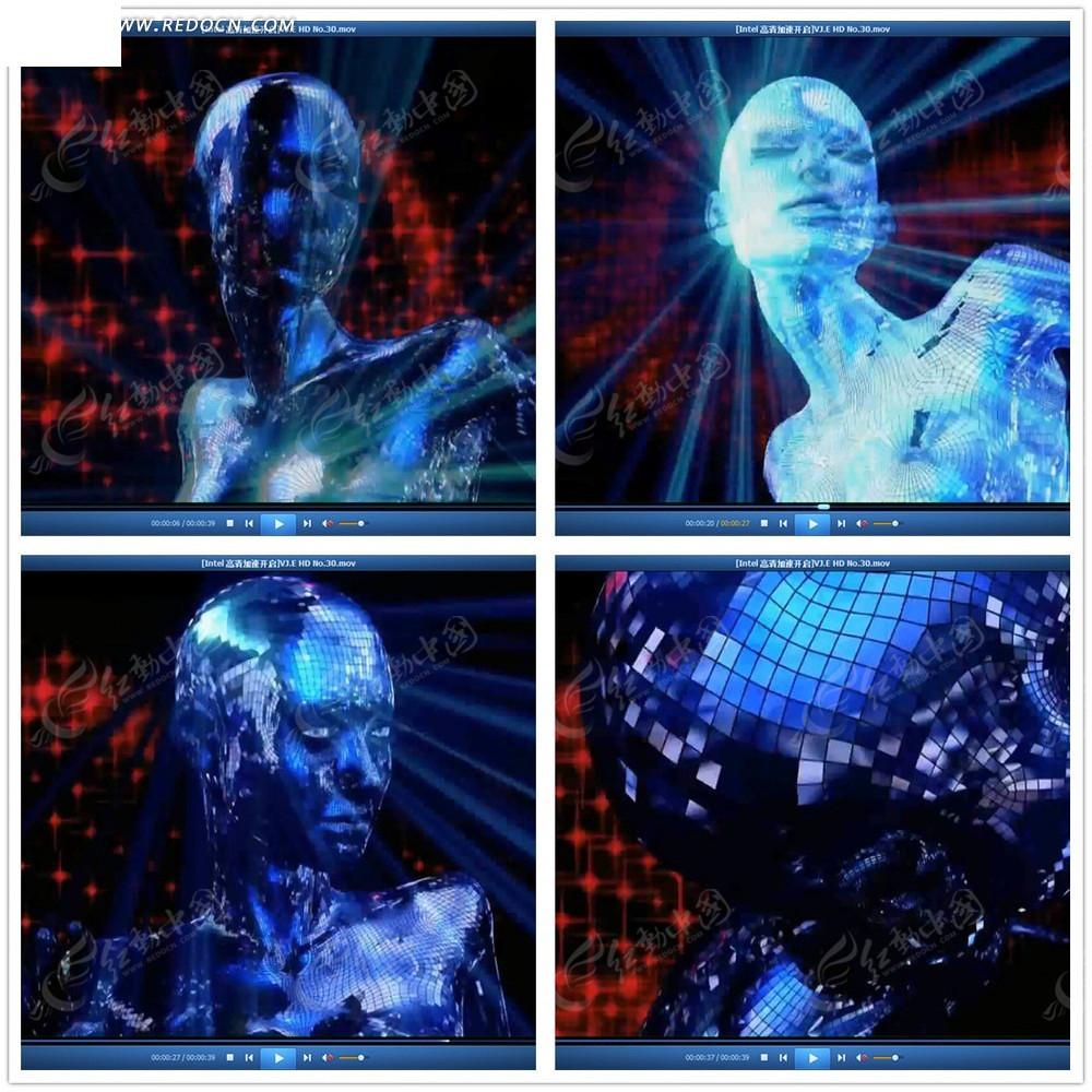 人体写真视频高清下载_马赛克人体光效视频