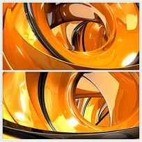 橙色立体光效背景视频