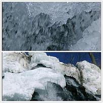 河水结冰冰河背景视频