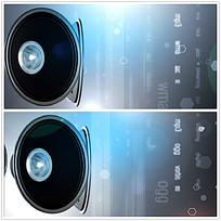 蓝色线条光效喇叭背景视频