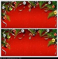 红底圣诞装饰背景视频