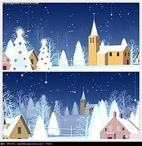 卡通圣诞雪夜视频