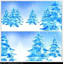雪花树林背景视频