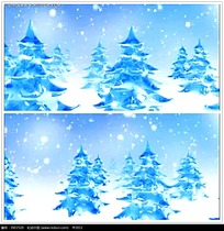 冬季圣诞树雪景视频