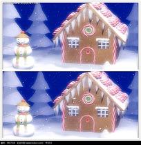 卡通圣诞雪人房屋视频