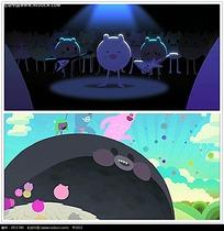 卡通小猪舞台背景视频