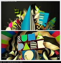 彩色时尚立体字母背景视频
