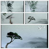 水墨山水松树竹子视频