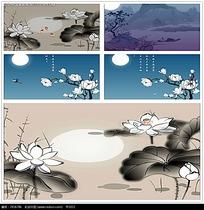 中国水墨画荷塘背景视频