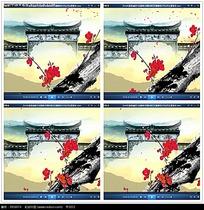 水墨古典桃花城门背景视频