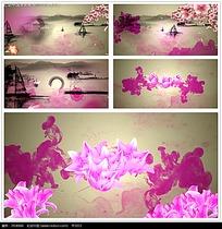 水墨流水花朵风景视频