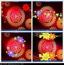 红色光效彩色花纹背景视频