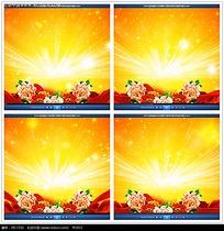 金色光效牡丹花晚会背景视频
