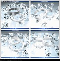 银色婚礼钻石戒指背景视频