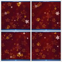 红色花朵树叶背景视频