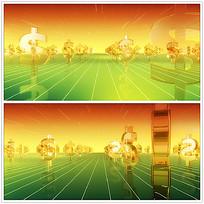 金色货币符号背景视频