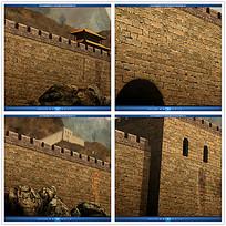 古典长城城墙背景视频