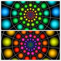 七彩圆点放射光效视频