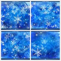蓝色雪花冬季背景视频