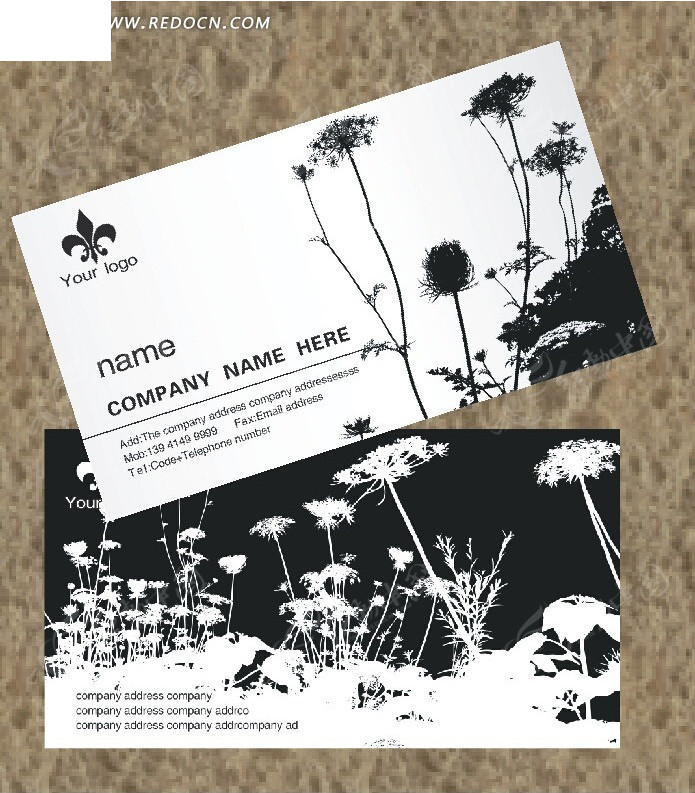 免费素材 psd素材 psd广告设计模板 名片卡片 黑白正负图植物名片
